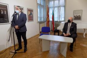 Работна средба на специјалниот пратеник на Владата на РСМ д-р Владо Бучковски со истакнати културни дејци од Република Бугарија (фотографија)
